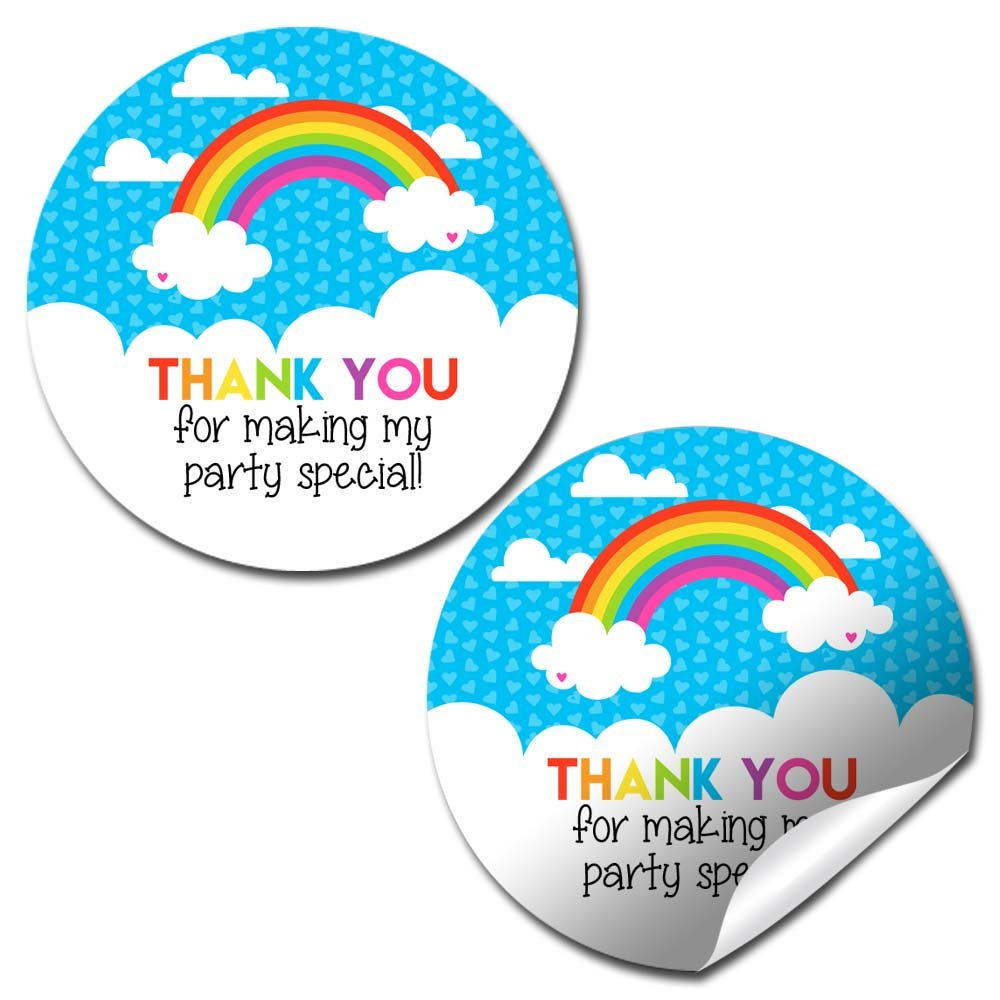 Rainbow Birthday Party Thank You Sticker Labels, 40 2'' Party Circle Stickers by AmandaCreation, Great for Party Favors, Envelope Seals & Goodie Bags