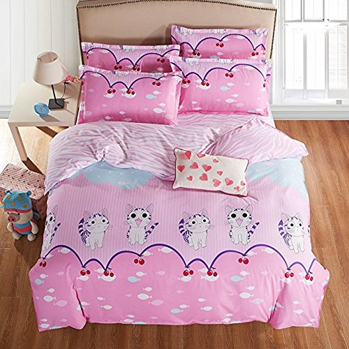 """3pcs Beddingset One Duvet Cover Without Comforter One Flat Sheet One Pillowcases Persian Cat Design Twin Size 59""""x79"""" (Twin, Persian Cat, Pink)"""