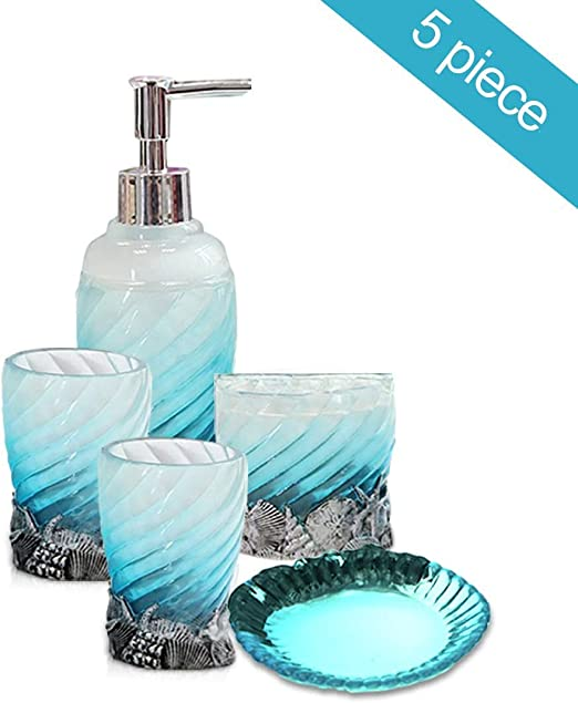 Anchor Nautical Bath AQUATIC BLUE Heavy Glass Bath Accessory Set