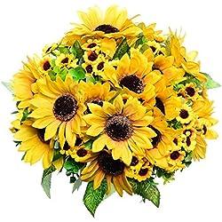 GreenDec 2pcs Artificial Fake Sunflowers Bouquet in Yellow Flower Arrangement for Home Kitchen Floor Garden Wedding Decor
