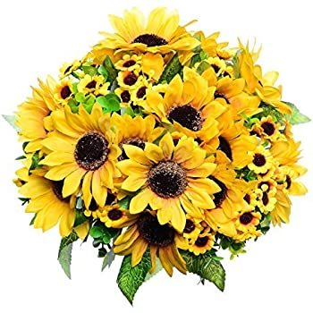 Amazon amyhomie artificial sunflower bouquet 7 flowers per greendec 2pcs artificial fake sunflowers bouquet in yellow flower arrangement for home kitchen floor garden wedding decor mightylinksfo