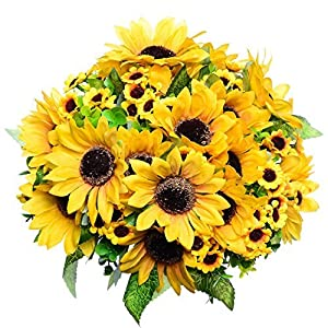 GreenDec 2pcs Artificial Fake Sunflowers Bouquet in Yellow Flower Arrangement for Home Kitchen Floor Garden Wedding Decor 58