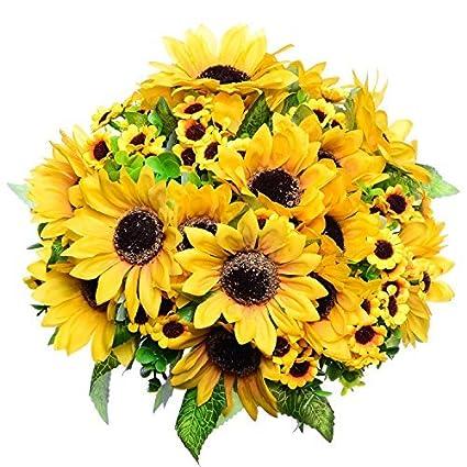 Amazon greendec 2pcs artificial fake sunflowers bouquet in greendec 2pcs artificial fake sunflowers bouquet in yellow flower arrangement for home kitchen floor garden wedding mightylinksfo