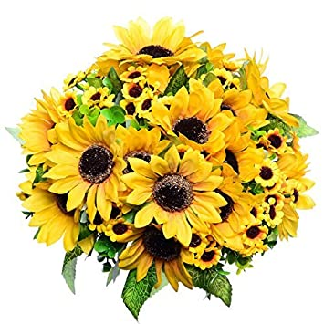 Amazon Greendec 2pcs Artificial Fake Sunflowers Bouquet In