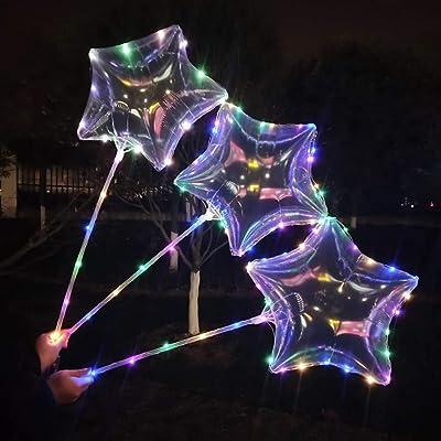 """KOBWA - Globos de Látex con luz LED DE 16"""", 5 Unidades, con Alambre de Cobre LED, Forma de Estrella/Corazón, Perfecto para Decoración de Fiesta, Cumpleaños, Bodas, Navidad, Día de San Valentín: Juguetes y juegos"""