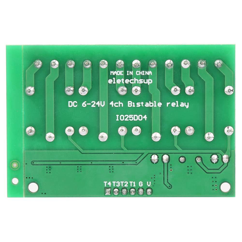 Module Relais 4 Kan/äle Flip-Flop Low Pulse Trigger Selbstsperrendes Relaismodul f/ür Smart-Home-Anwendungen 6-24VDC