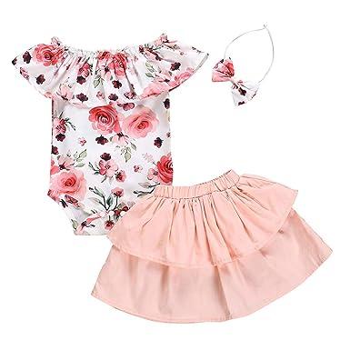 64a704488a72 Amazon.com: Baby Girls Summer Clothes Set Toddler Kids Newborn Ruffled  Ruffled Romper+Dress Tiered Skirt+Headband 3Pcs Outfits: Clothing