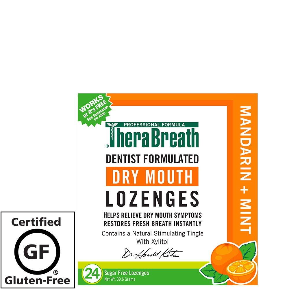 TheraBreath Mouth Wetting Dry Mouth Lozenges, Mandarin Mint, 24 Count Dr. Harold Katz 697029241127