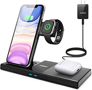 4 in 1 Wireless Charger,ELEGIANT Fast Wireless Charging Dock Station for Apple iWatch Series 5/4/3/2/1, AirPods Pro/2 Compatible with iPhone 11/11 Pro Max/XR/XS Max/Xs/Samsung