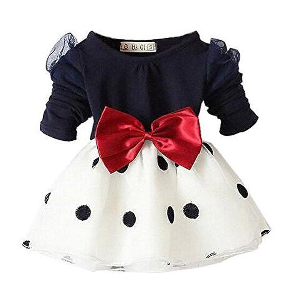 Arrowhunt Baby Girls Long Sleeve Bowknot Polka Dot Organza Dress