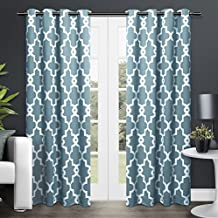 Exclusive Home Curtains Ironwork Sateen Woven Blackout Thermal Grommet Top Window Curtain Panel Pair, Teal, 52x84