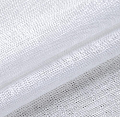 Semi Sheer Curtains For Kitchen Curtain Linen Textured: Miuco White Sheer Curtains Poly Linen Textured Solid