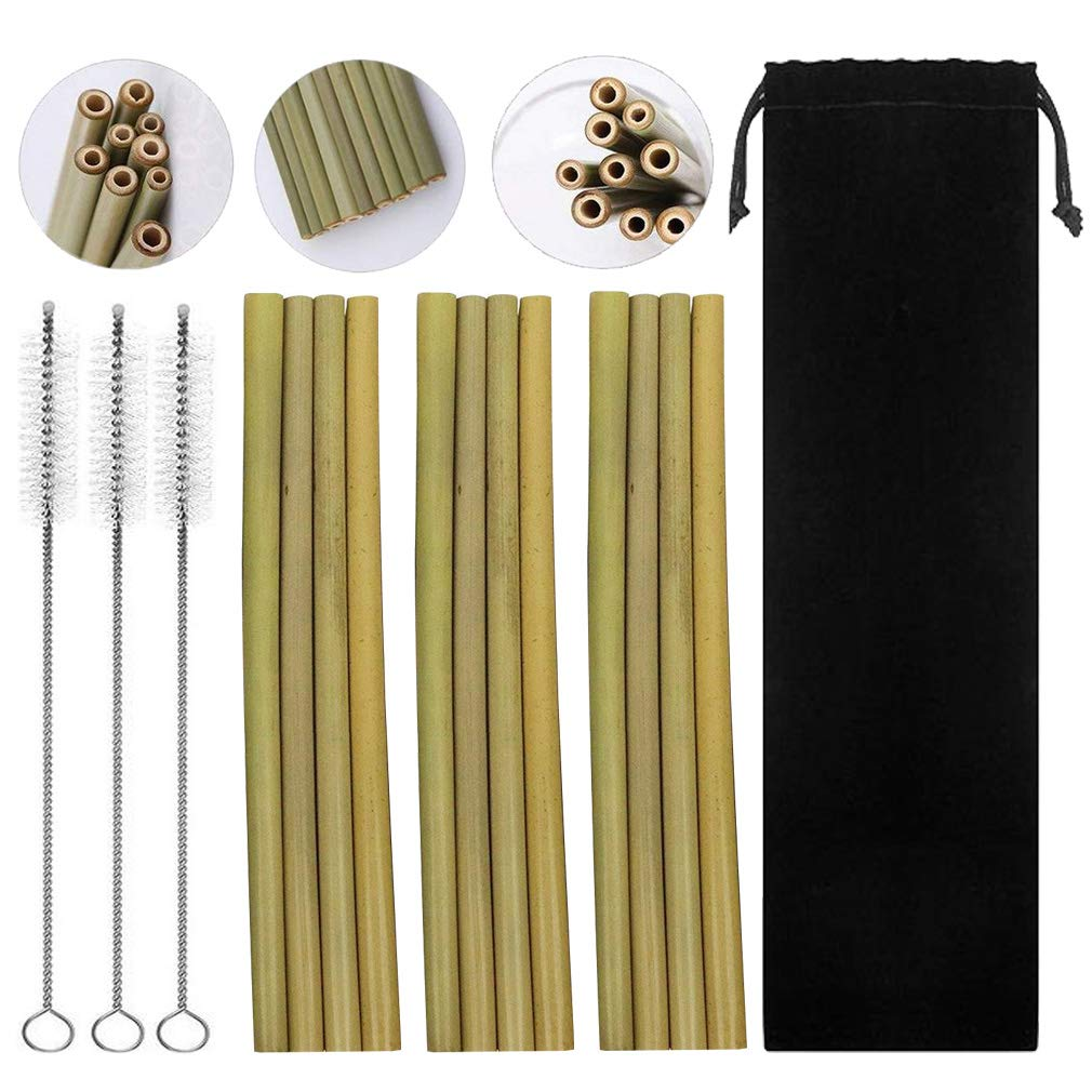 Natural Bamboo Drinking Straws by DBANG| 100% Natural, Reusable and Washable| Handcrafted Natural Alternative to Plastic | Set of 16, Includes 3 Cleaning Brushes and a Bag