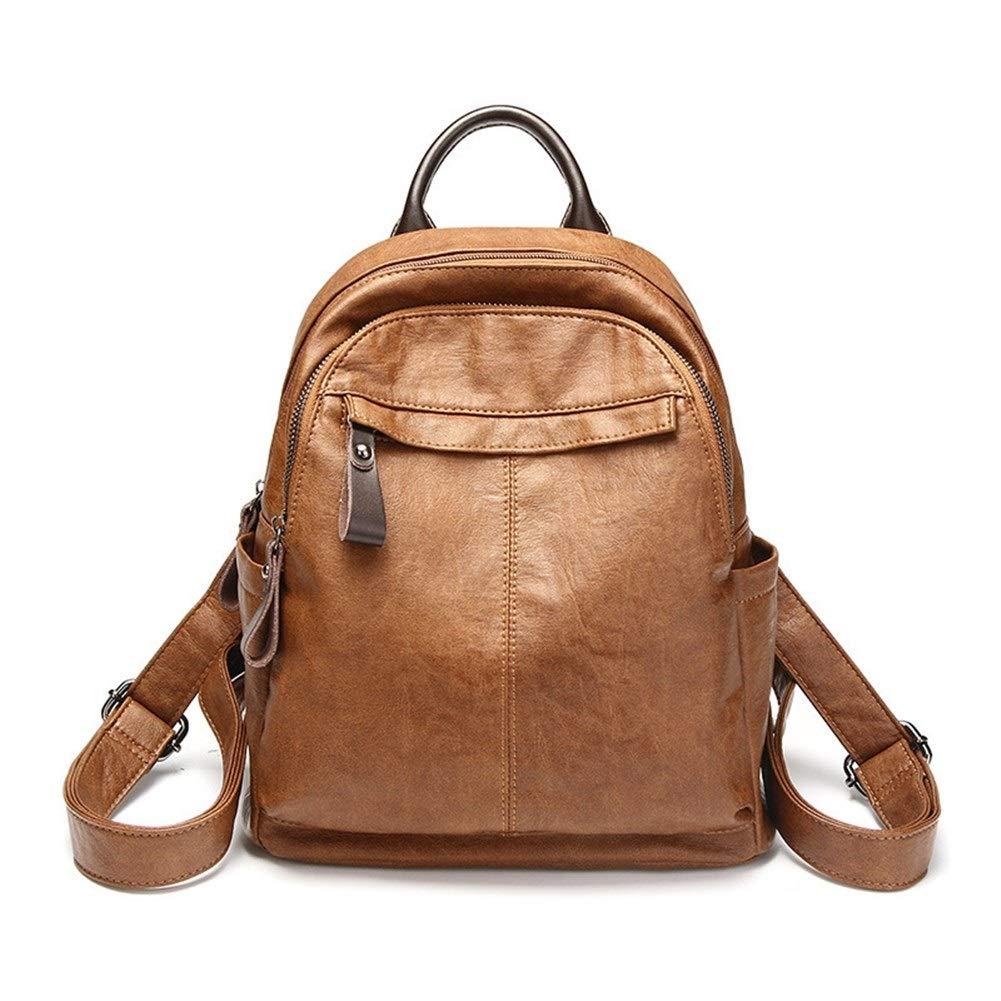 ZYSTMCQZ vattentät PU-läder ryggsäckar, vintage kvinnliga vardagliga axelväskor, rese damväska skolväskor för flickor – svart, kråsad (färg: Rosa) Rosa