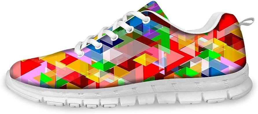 Zapatillas de Deporte para Hombre, Estampadas, geometría, Arco Iris, Colores poligonos, Ligeras, para Caminar, Senderismo, Entrenamiento, Zapatillas Deportivas: Amazon.es: Zapatos y complementos