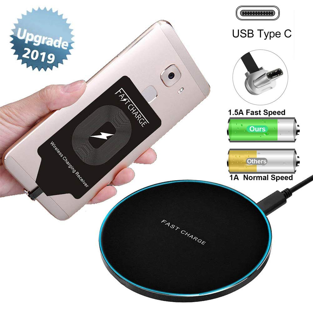 Fast Wireless Charger Pad Station with Charging Receiver Adapter Card Kit Compatible for Samsung Galaxy A8 A5 A3 C9 Pro Plus Google Pixel XL LG V20 Stylo 4 G5 Moto G6 Z2 Forece Play Motorola Type C