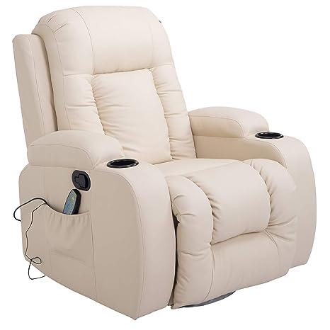 HOMCOM Massagesessel Fernsehsessel Relaxsessel TV Sessel Wärmefunktion mit Fernbedienung Liegefunktion und Getränkehaltern (c