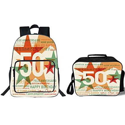 IPrint 19quot School Backpack Lunch Bag Bundle50th Birthday DecorationsHappy