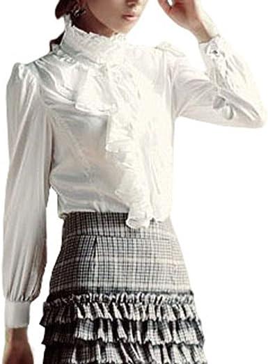 Blusa vintage victoriana con botones para mujer, cuello alto, con volantes, manga larga, estilo clásico, liso, delgada, color negro y blanco: Amazon.es: Ropa y accesorios
