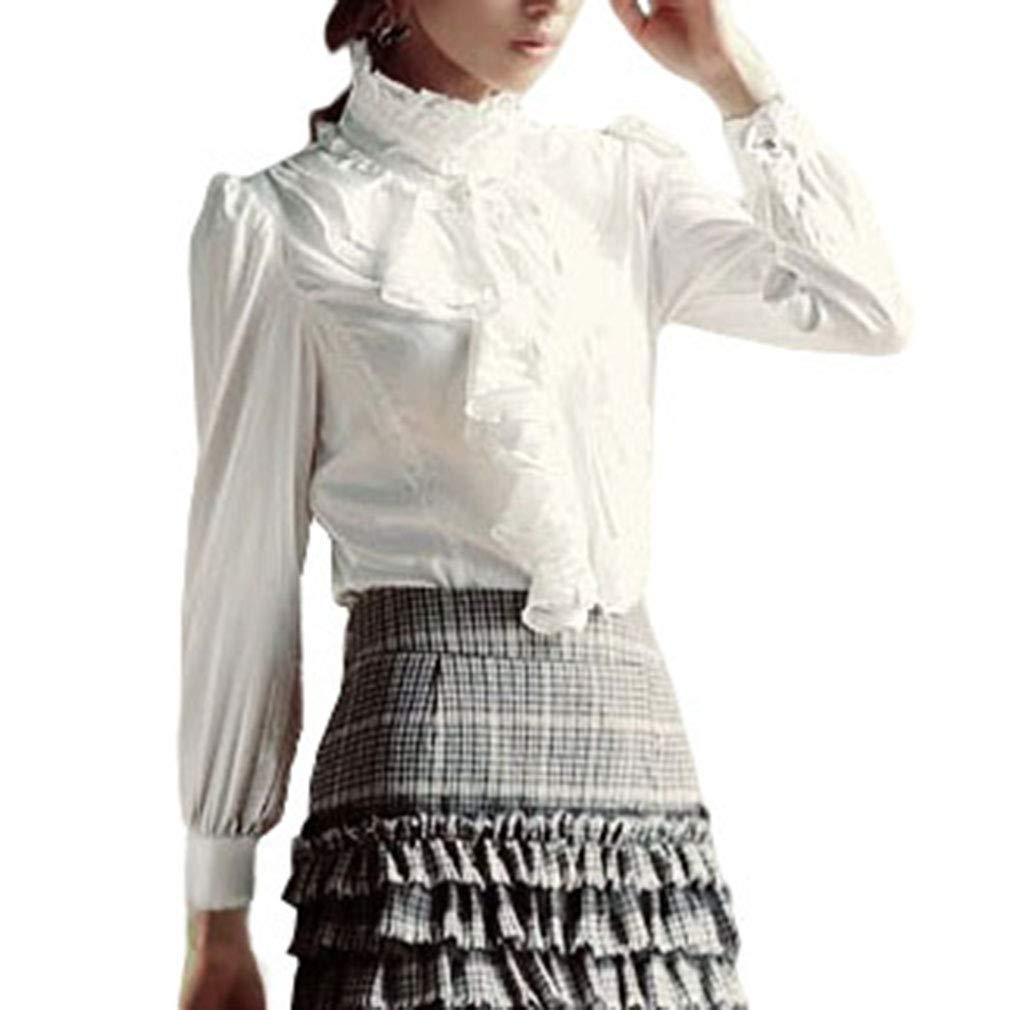 ad49a2fe700b19 ... Lolita Camicetta con Volant Donna Collo Alto Lotus Ruffle Camicie  Elegante Slim Fit Casual Camicia da Ufficio Tops Nero/Bianco: Amazon.it:  Abbigliamento