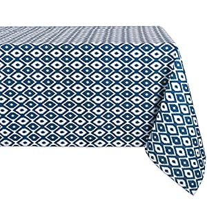 "DII 100% Polyester, Spill proof and Waterproof, Machine Washable, Tablecloth for Outdoor Use, 60x84"", Blue Ikat, Seats 6 to 8 People"