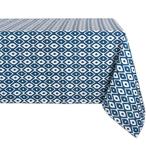 DII Spring & Summber Tablecloth, Spill Proof and Waterproof for Outdoor or Indoor Use, Host Backyard Parties, BBQs, & Family Gatherings - (60x84 - Seats 6 to 8) Blue Ikat