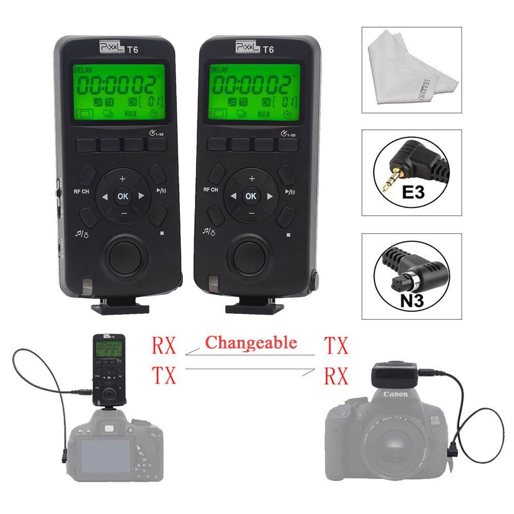 Pixel T6 Wireless Timer Shutter Remote Control LCD with N3/E3 Cable for Canon 5D Mark IV 1300D 1100D 1000D 650D 600D 550D 500D 450D 60D Cameras + Inseesi Clean Cloth …