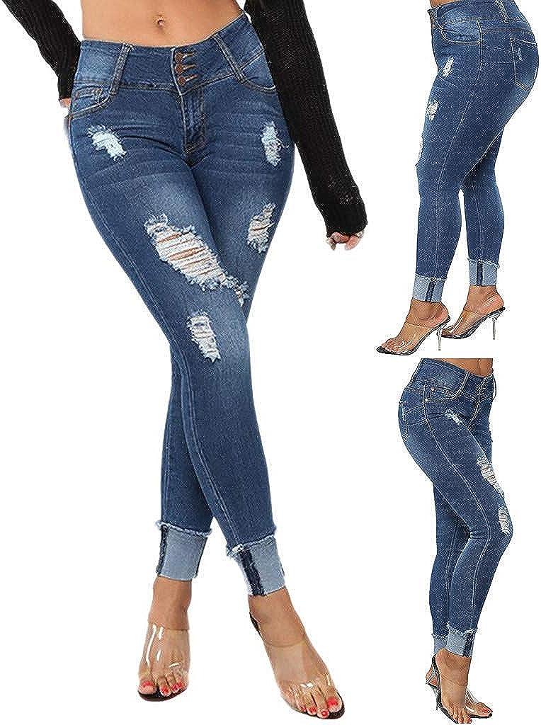 Women Elastic Plus Size Denim Pocket Button Casual Boot Cut Pant Jeans