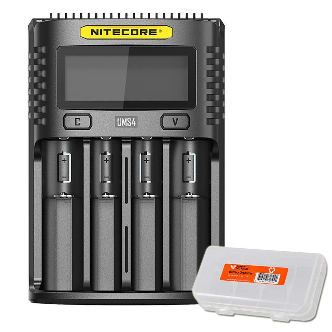 NITECORE UMS4 Intelligent USB Four Slot Superb Battery Charger and LumenTac Battery Organizer