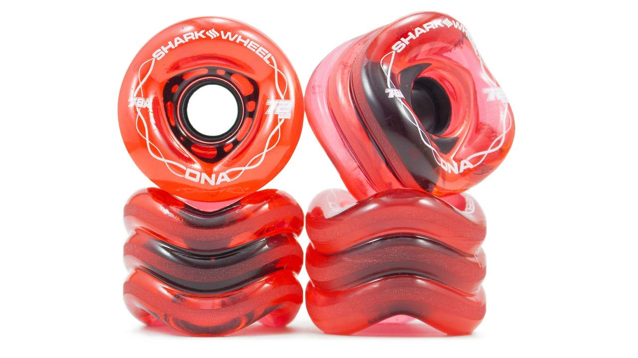 Shark Wheel 72mm DNA Formula Longboard Wheels (Transparent Red) by Shark Wheel