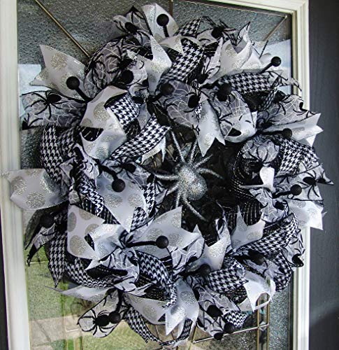 Black White and Silver Spider Halloween Deco Mesh Front Door Wreath, Porch Patio Yard Decoration, Indoor Outdoor Decor, Welcome Halloween -