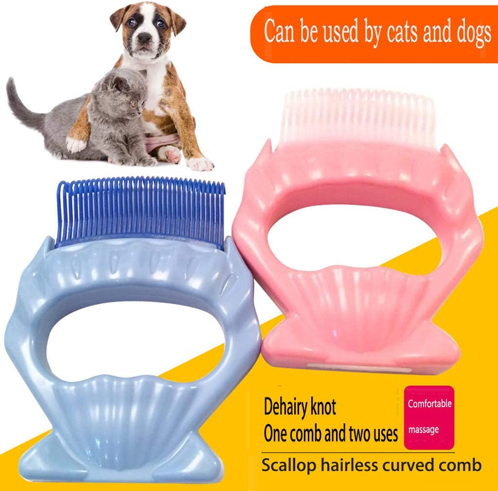Pink Simplylin Dog Cat Hair Special Shaving Artifact Pet Artifact Shell Comb to Float Hair one-Click Cleaning and Massage
