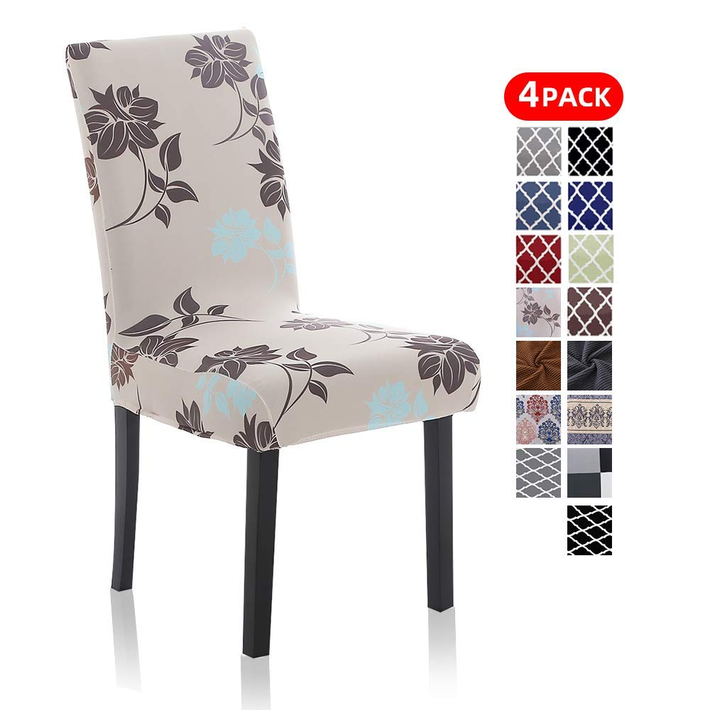 Floral Spandex Dining Chair Covers Set of 4 - Soft Removable Stretch Banquet Kitchen Chair Protector Slipcovers for Dining Room, Hotel, Home, Ceremony, K-8