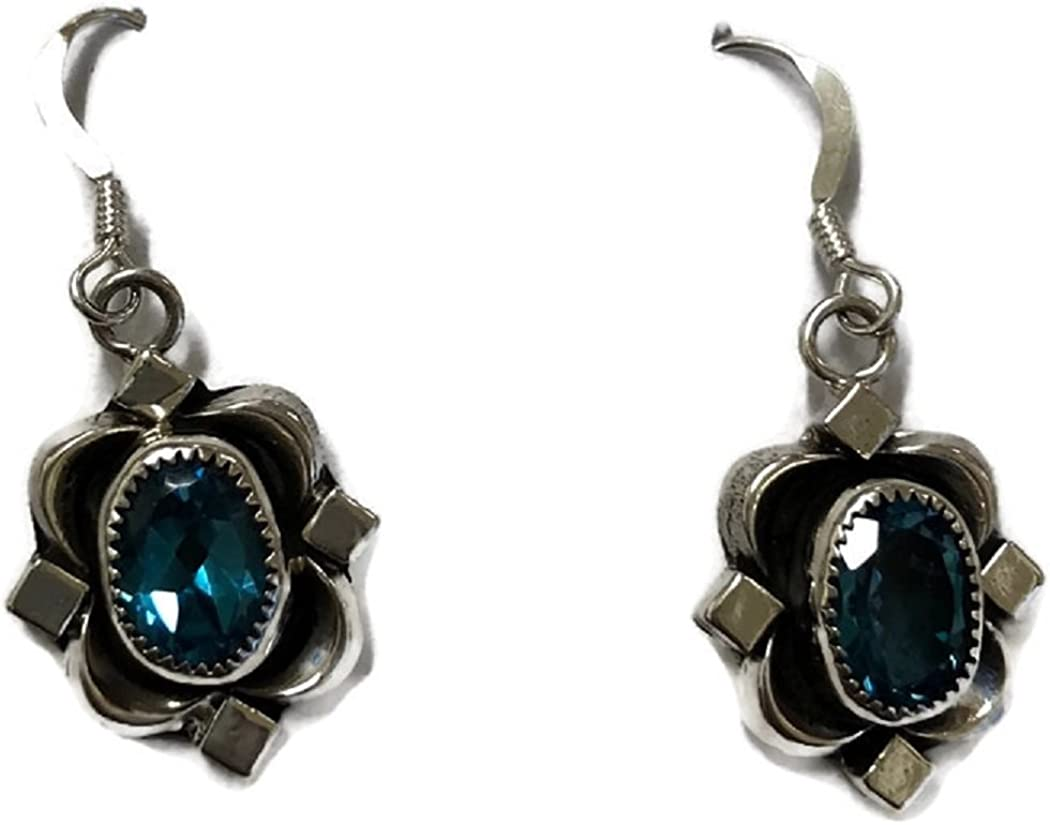 Chaco Canyon Couture .925 Sterling Silver Native American Handcrafted Jewelry Blue Topaz Earring and Pendant Set