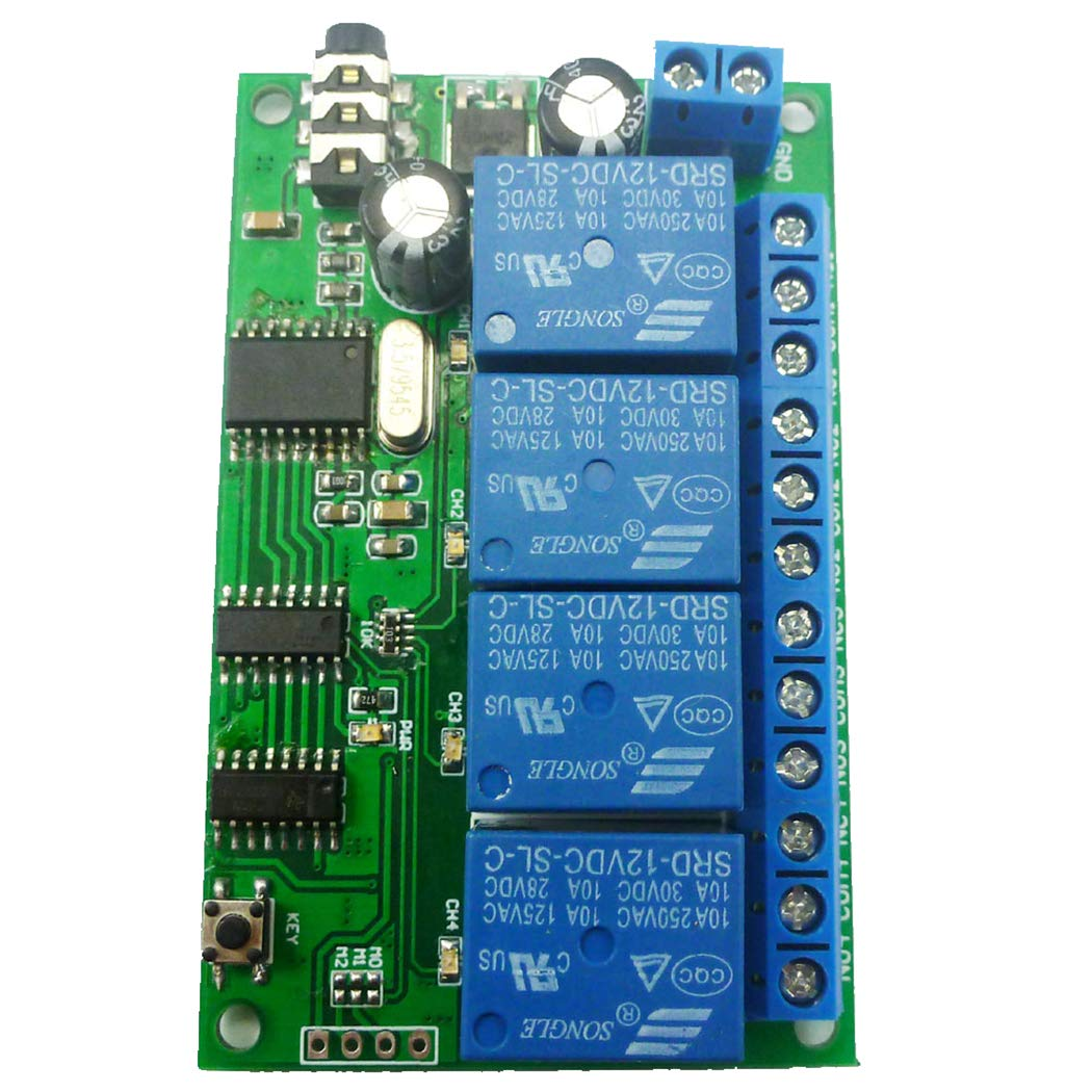 Eletechsup DC 12V 4ch MT8870 DTMF Tone Signal Decoder Phone Voice Remote Control Relay Switch Module for LED Motor PLC Smart Home /… 4