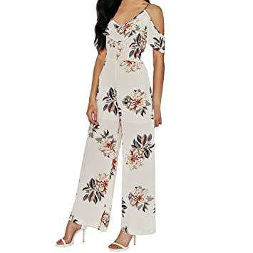 IMJONO. Womens Print Holiday Casual Playsuit Damen Overall (Weiß, XL ... 7853d393bc