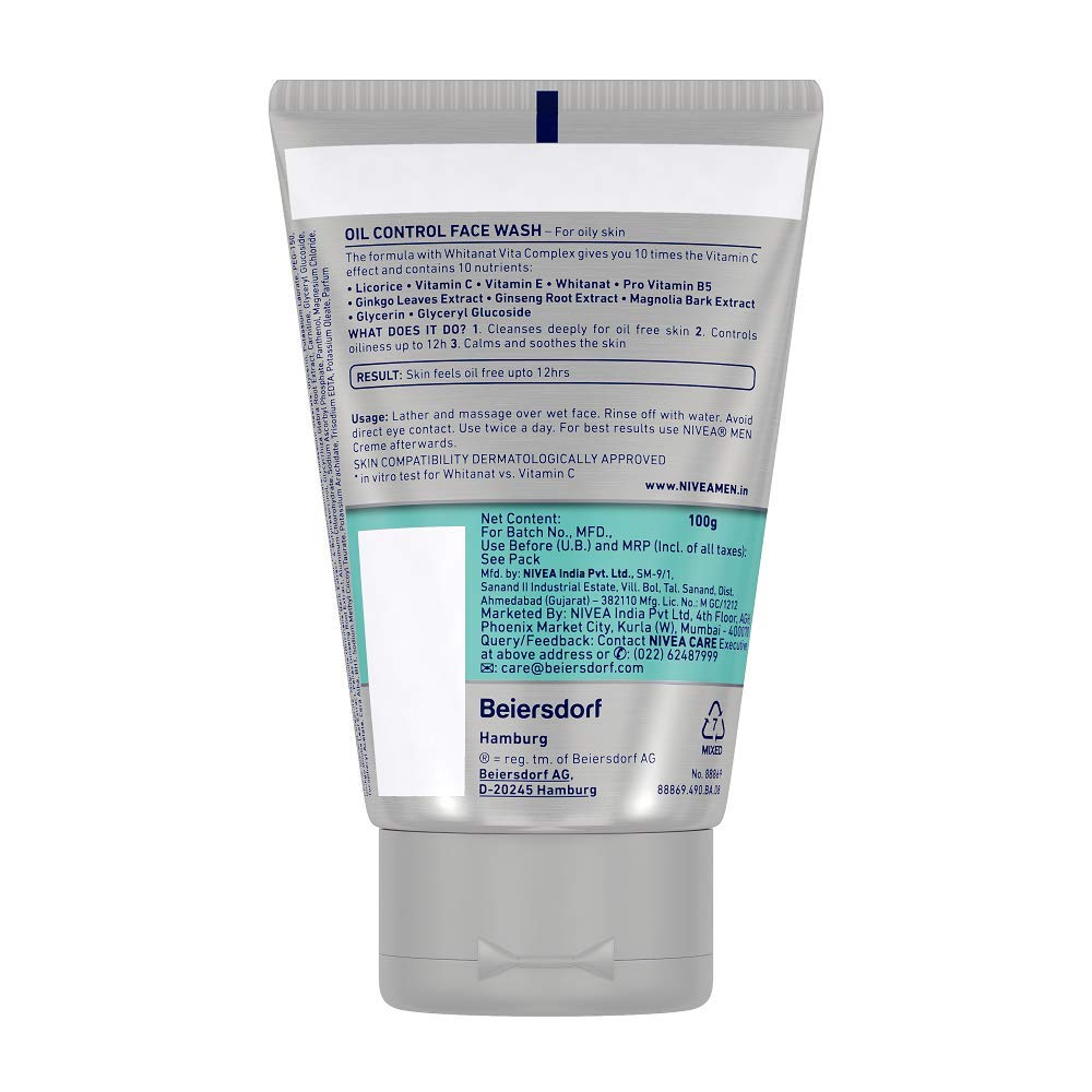 Nivea Men Oil Control Face Wash 10x Whitening 100gm Make Up Clear 2 In 1 White Foam 100ml Beauty