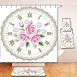 Nalahome Bath Suit: Showercurtain Bathrug Bathtowel Handtowel Shabby Chic Decor Vintage Clock Face Roses Roman Numbers Antique Vintage Light Pink Green Dark Khaki