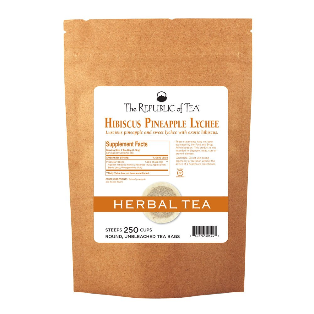 The Republic Of Tea, Pineapple Lychee Hibiscus Tea, 250 Tea Bags, Caffeine-Free Premium Herbal Blend