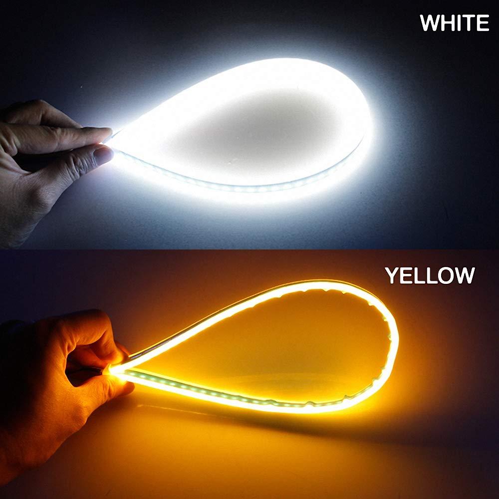 Eisblau Wird gelb,30cm 2X Auto Blinker Ultrafein 30cm 45cm 60cm DRL Flexibles weiches LED Streifen Licht Blinker Lampen Tagfahrlicht Tear Strip Autoscheinwerfer