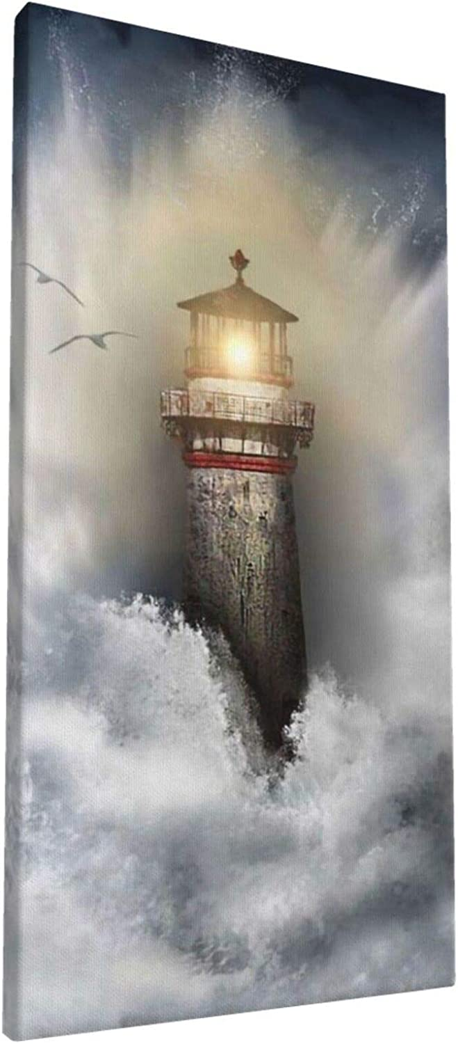 8x16 Inch Wall Art Lighthouse and Hope Painting on Canvas for Bedroom Home Decorations Wall Decor