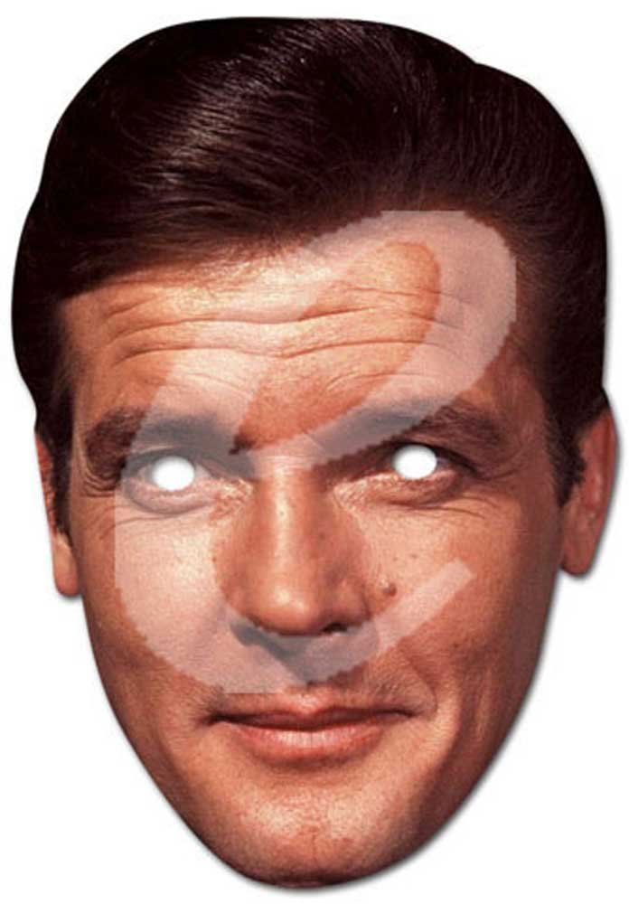 Empire Masque en carton de Roger Moore avec trous pour les yeux et élastique 30 x 21 cm
