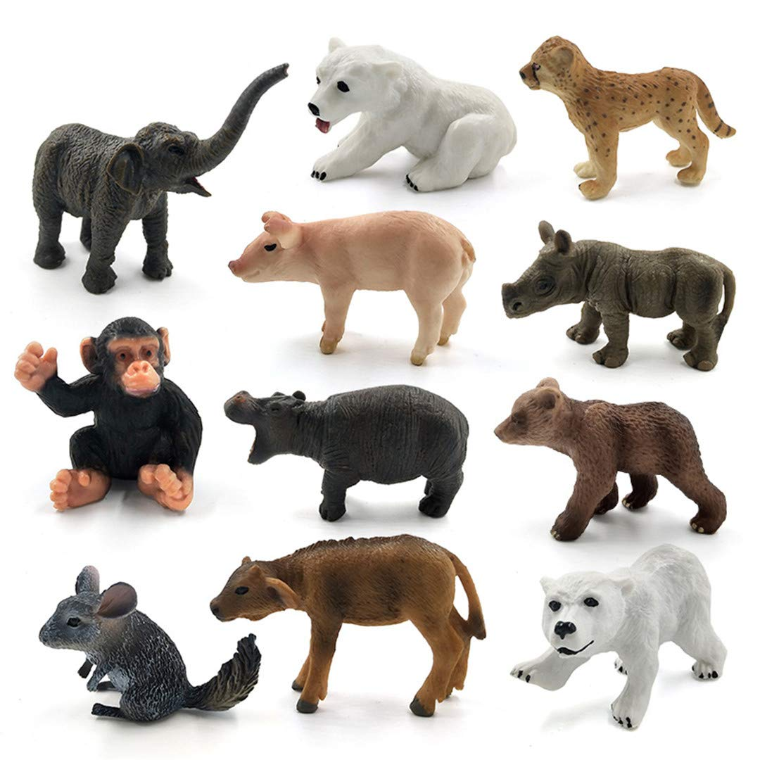 BHJLOFYX Mini Elephant Pig Chinchilla Mouse Chimpanzee Polar Bear Cow Animal Model Figurine Home Decor Accessories