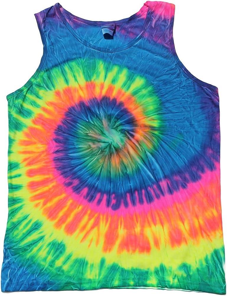 Colortone Tie Dye Tank Tops Unisex Neon Multicolored Adult Small - 3X