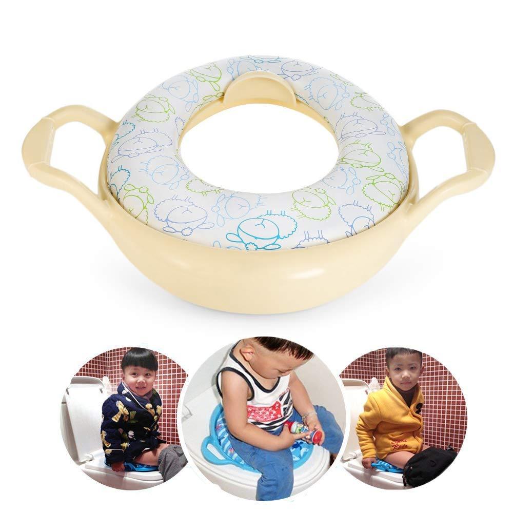 Potty Training Seat Suave Reductor WC Niños con Asas Infantil Formación Asiento para Inodoro con Manijas para Niños Aprender ir a Baño para 1-6 Años, Amarillo LifePlus