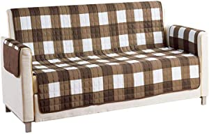 Quick Fit - The Original Plaid Gingham Checkered Reversible Water Resistant Furniture Cover for Dogs, Kids, Pets Sofa Slipcover for Couch, Recliner, Loveseat or Chair (Sofa: Brown)