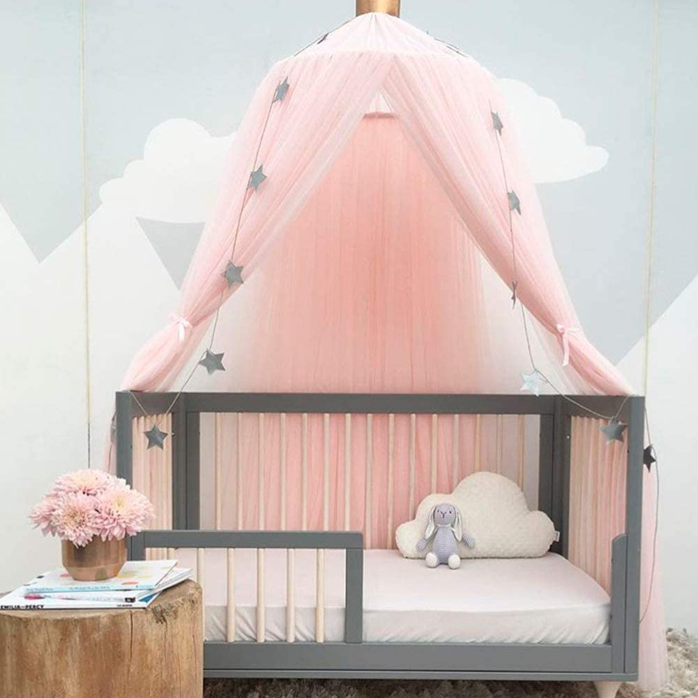 Mosquito Net Children Bed Canopy Elegant Color Home Mesh Netting Kid Baby Bedroom Nikou Bed Canopy 粉色