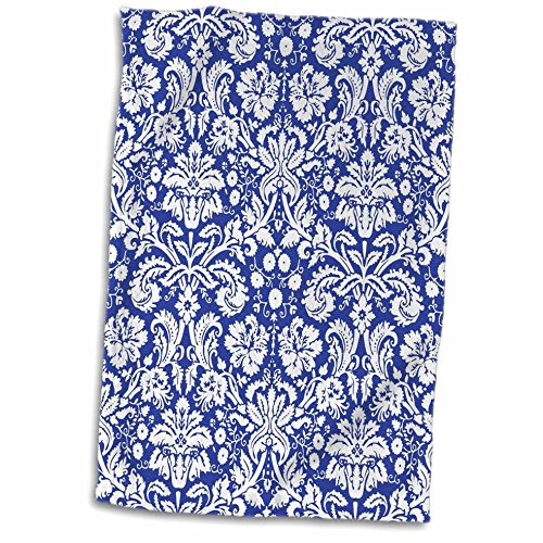 3D Rose Royal Blue and White Damask Pattern - Stylish Elegant Victorian Vintage French Floral Swirls - Navy Towel, 15