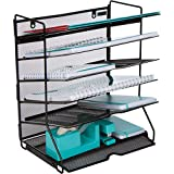 Mesh Desktop or Wall Mounted Document Tray Organizer - 6 Tier Black Metal Wire Mesh File Holder for Letter A4 Size Files, Folders, Notebooks, Binders, Magazines, and More