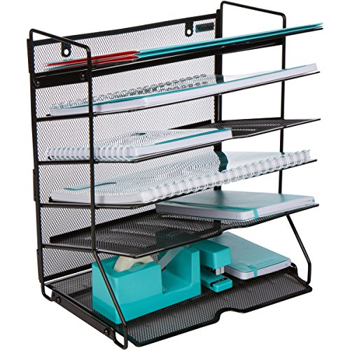 Mesh Desktop or Wall Mounted Document Tray Organizer - 6 Tier Black Metal Wire Mesh File Holder for Letter A4 Size Files, Folders, Notebooks, Binders, Magazines, and (Legal Desk Tray)
